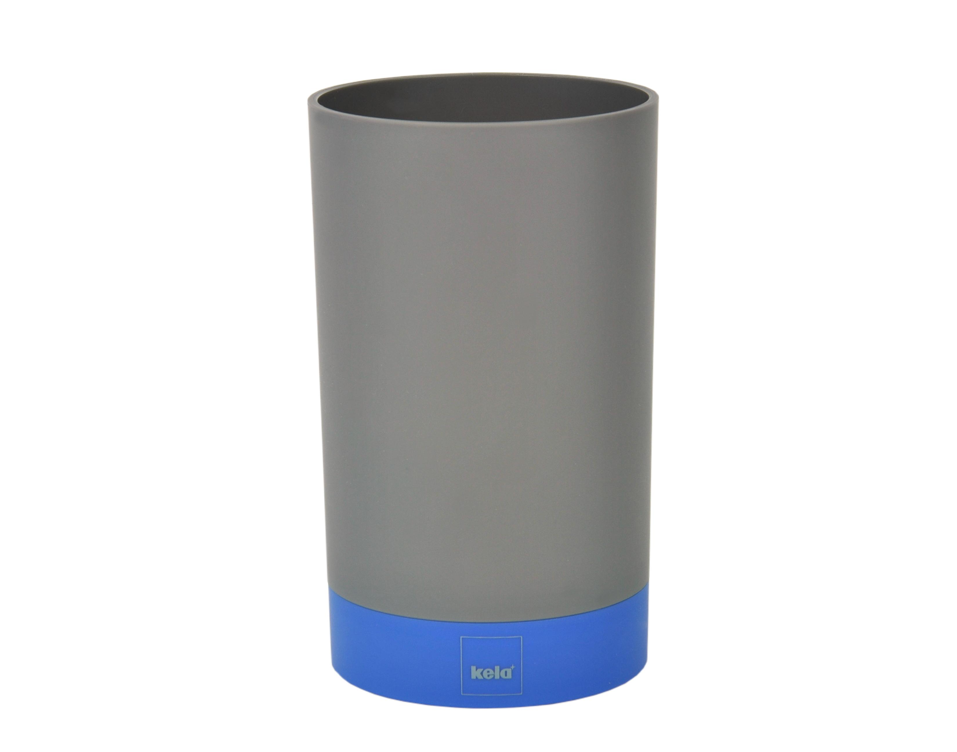 kela 4tlg badezimmer set grau blau wc garnitur b rste seifenspender 2 becher 4250857257980. Black Bedroom Furniture Sets. Home Design Ideas